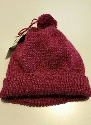 Hand Knitted Alpaca and Wool Mens or Womens Beanie Dark Purple