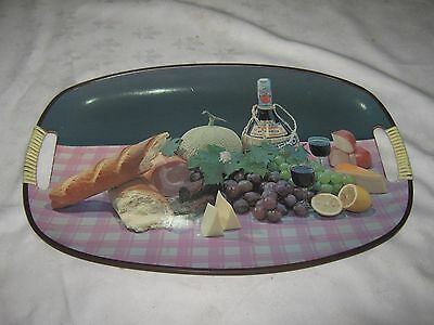 Vintage 1960's Retro Japanese Fibreboard Picnic Banquet Pictured Serving Tray