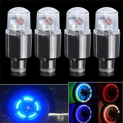 Lot 4pcs RGB LED Tyre Tire Valve Caps Neon Light Bike Car motorcycle Lamp