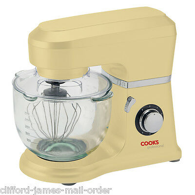 Cooks Professional Electric 800w Food Stand Mixer 6 Speed 4L Glass Bowl in Cream
