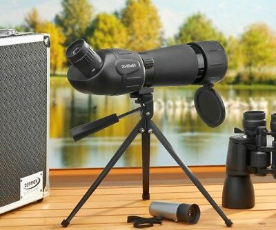 Binoculars Monocular Spotting Scope 3 Piece Optical Set Aluminium Case Zennox