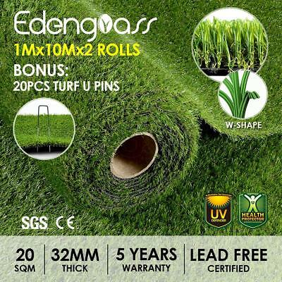 20 SQM Synthetic Turf Artificial Grass Plastic Plant Lawn Flooring 30mm W shape
