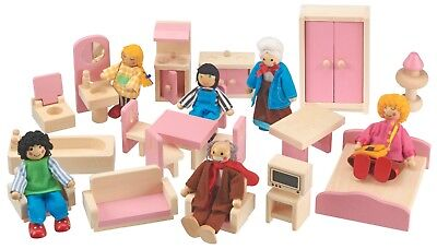 My Play Wooden Dolls House Furniture Miniature Childrens 20pc Toy Gift Set NEW