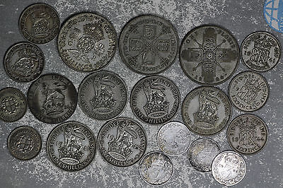 20 Silver Great Britain Silver Coins - Florins, Shilling, Sixpence, Three Pence
