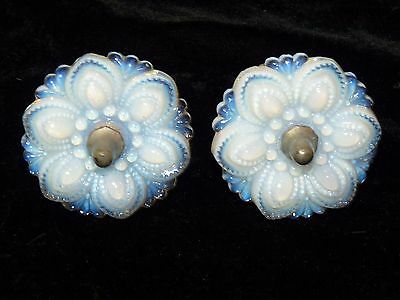 Pair 1860 Opalescent Sandwich Lacy Glass Curtain Tiebacks with Rods Hardware