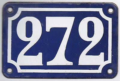 Old blue French house number 272 door gate plate plaque enamel steel metal sign