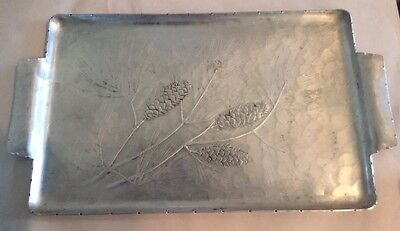 "Vintage Wendell August Forge Pine Cone Rectangular Aluminum Tray 16"" x 10"". A7"