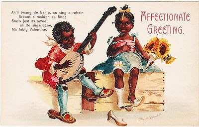 Rare Unused 781 Ellen Clapsaddle Black Americana Valentine Affectionate Greeting