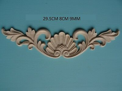 Decorative wooden shell /& scroll centre applique furniture moulding onlay  W38
