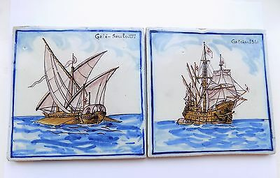 2 Vintage Azulejos, Portuguese Hand Painted Tin Glaze Sailing Ship Tiles. Signed