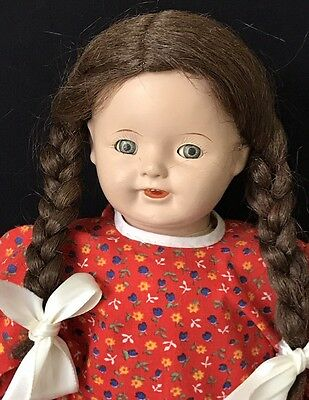 """18"""" Antique Ideal Composition & Cloth Doll W/tin Eyes & Open Mouth"""