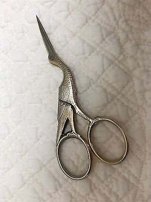 Vintage Germany Made Stork Embroidery Scissors Gold/silver Finish E. Schlemper