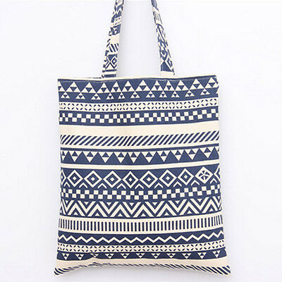 1-layer No Lining Eco Shopping Tote Shoulder Bag Zigzag Line Blue SD204 B