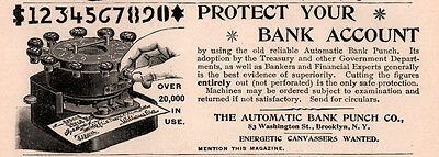 1894 A Ad   Automatic Bank Punch Co Check Protection