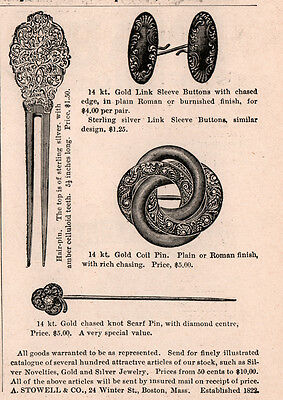 1894 A Ad  Stowell Jewelers Boston Pin Link Sleeve Buttons Hair Pin Scarf Pin