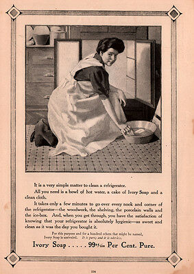 1905 Ad Ivory Soap Housewife Cleaning Refrigerator  Kitchen