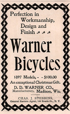 1896 B Ad  Warner Bicycles Madison Wisc