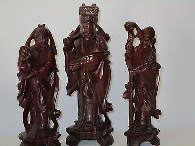 3 Rose Wood Sculptured Asian Statues Excellent Detail Throughout Fuk Luk Shou