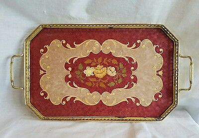VINTAGE MARQUETRY ITALIAN INLAY WOOD TRAY BRASS SIDES HANDLES Hollywood Regency