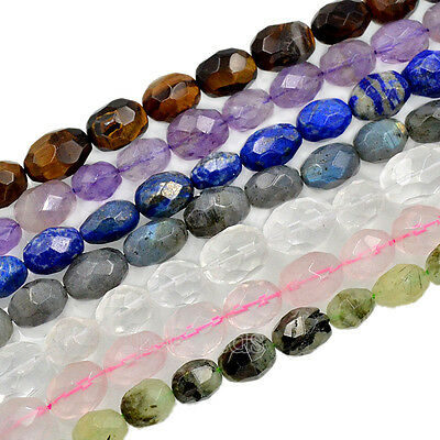 """Natural Faceted Gemstones Oval Nugget Freeform Spacer Loose Beads 8"""" 10mm-15mm"""