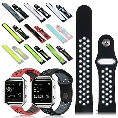 Soft Silicone Sport Replacement Strap Wrist Band /Steel Frame For Fitbit Blaze