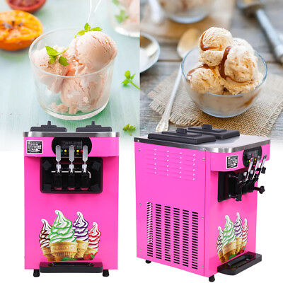 Commercial 3 Flavor Soft Ice Cream Steel Frozen Yogurt Cone Maker Machine 110V