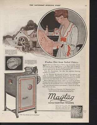 1920 Maytag Wringer Woman Cottage Household Decor Ad 9563