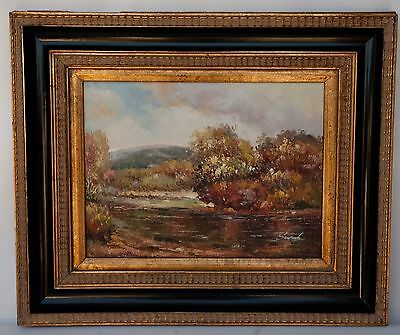 Vintage signed oil painting on canvas -FRAMED LANDSCAPE IMPRESSIONIST