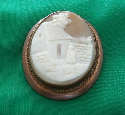 Vintage Victorian Brass Frame Shell Cameo Lady in Court Yard Brooch