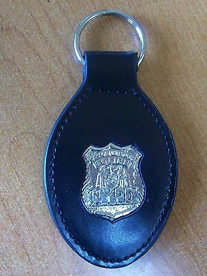 NYC Police Leather Key Ring NYPD Patrolman Badge Silver Color Novelty Item
