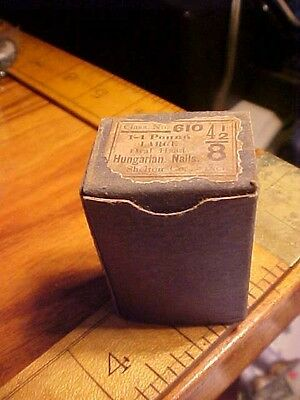 Antique box of unopened old iron oval headed Tacks HUHGARLAN NAILS HEAVY DUTY