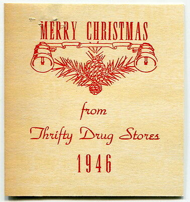 """1940s Drug Store Pkg Gift Card: """"Merry Christmas From Thrifty Drug Stores 1946"""""""