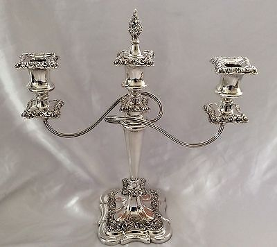 "Fine Antique 15"" Regency Style Repousse Silver On Copper Candelabra C.1900"