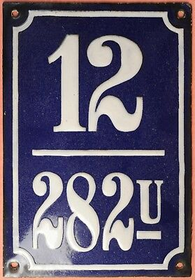 Big blue French house number 12 door gate plate plaque enamel steel metal sign
