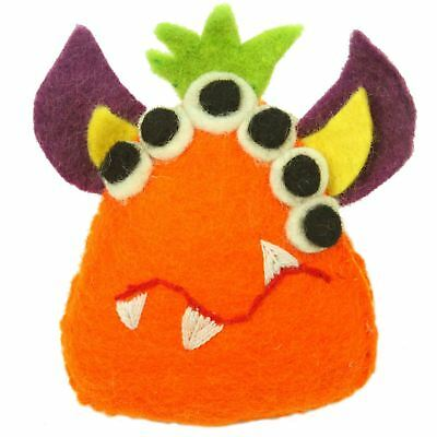 Hand Felted Orange Tooth Monster with Many Eyes - Global Groove Handmade Artisan