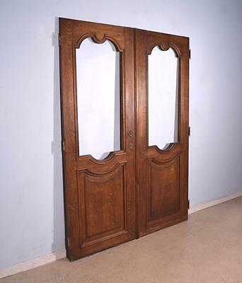 "87"" Tall Pair of Antique French Oak Wood Doors with Windows"