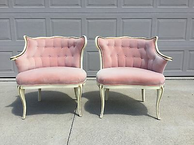 Pair of Hollywood Regency, Fireside, Boudoir, Tufted Back Rose Pink Chairs