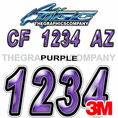 PURPLE  Custom Boat Registration Numbers Decals Vinyl Lettering Stickers USCG