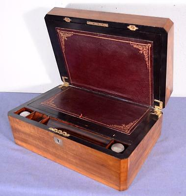 Inlaid Victorian English Antique Campaign Writing Slope in Olivewood & Zebrawood