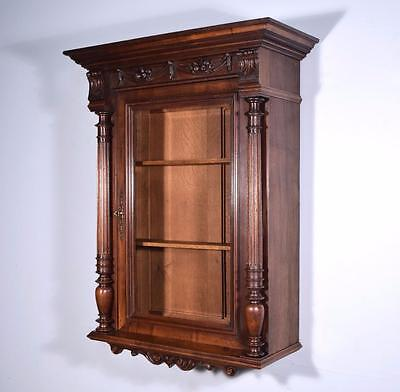 Antique French Wall/Display/Bar Cabinet in Walnut with Beveled Glass Door