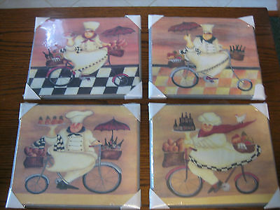 Fat Bistro Chef Pictures Wall Art Kitchen Decor Set Of 4