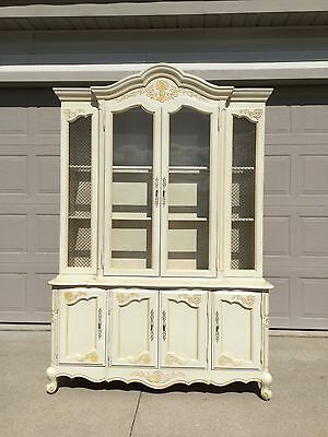 Vintage Country French Provincial ivory color china cabinet