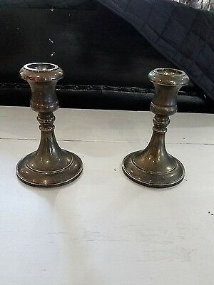 """Vintage SHEFFIELD Candle Stick  Candlestikes Marked ITALY Silver plated 5 1/4"""""""