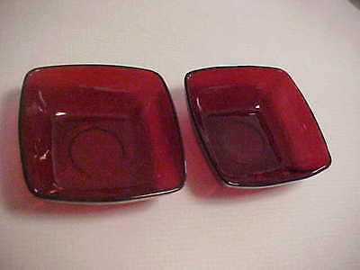 """2 small Candy Dishes Ruby or Cranberry Glass 4 3/4"""" Square"""