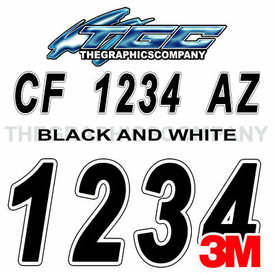BLACK WHITE Custom Boat Registration Numbers Decals Vinyl Lettering Stickers