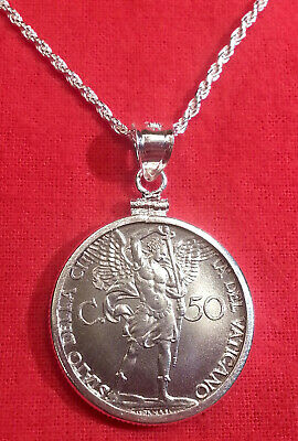 1940 Vatican St Michael the Archangel WWII Coin Sterling Silver Pendant Necklace