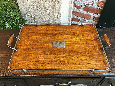 Antique English Carved Tiger Oak Serving Tray Coffee Tea 1907 Sports Race Trophy