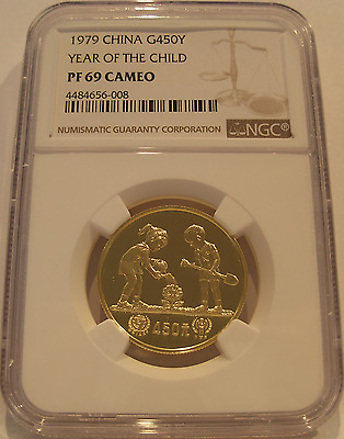China 1979 Gold 1/2 oz 450 Yuan NGC PF-69 Cameo Year of The Child