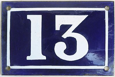 Old blue French house number 13 door gate plate plaque enamel metal sign c1950