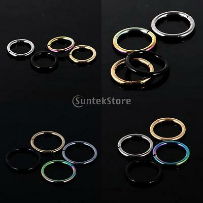 Septum Clicker Nose Ear Tragus Hinged Segment Ring Stainless Steel 1.2mm 1.6mm